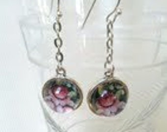 Victorian Dangly  Candybox Floral Glass Dome Earrings.