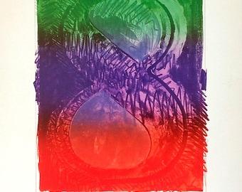 JASPER JOHNS - '8' - hand signed vintage print - c1995 (Andy Warhol, Pop art interest)