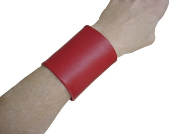 Wide red leather cuff Soft leather lambskin tattoo cover 3 inch wide cuff non metal jewelry solution Christmas Jewelry Punk Rock Jewelry