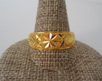 Handmade Thai Solid 23k Gold Ring | Men Ring solid 23K Gold Ring | 5mm Wide Mens Gold Ring | Gold Ring | 23k Gold | Mens Gold Ring