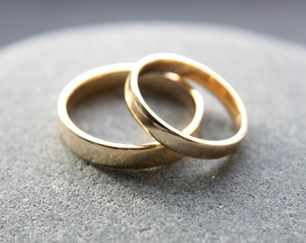 3mm + 4mm 9ct yellow gold wedding ring set in flat profile, shiny finish - made to order from recycled gold