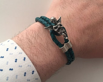 Turquoise Leather Bracelet with Angel Hook Wristband Birthday Gifts
