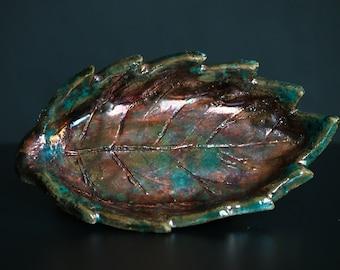 Forest Treasure Raku ceramic soap dish