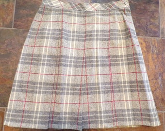 PLAID SCHOOLGIRL SKIRT personal leslie fay gray pleated S (B7)