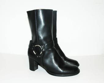 Size US 8.5 / Tommy Hilfiger Calf Boots, Vintage Leather Boots, Motorcycle