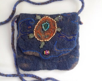 Embellished felt crossbody bag. Turtle motif. Embroidered and beaded. Blue, brown, orange colours. One of a kind.
