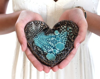 Ceramic heart bowl Ring holder  Small bowl Heart bowl Candle holder ceramic heart