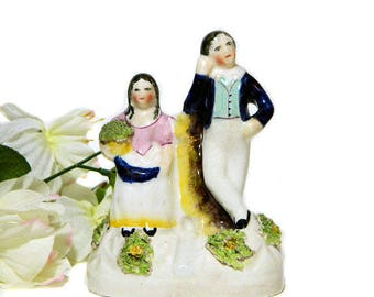 Small Mid 19th Century Staffordshire Figurine Pair with Bud Vase Quill Holder