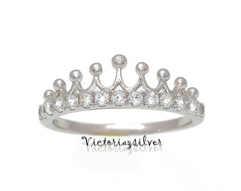 925 Sterling Silver Crown/Tiara Ring,Silver Princess Ring,Silver Tiara Ring