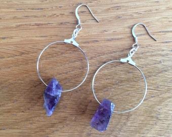 Raw Amethyst Earrings, Amethyst Earrings, Raw Crystal Earrings
