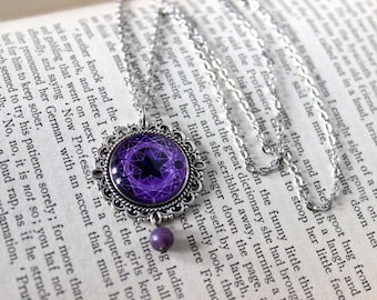 Purple Celestial Cabochon Silver Tone Necklace with Lepidolite - Witchy Goth Pentagram Witchcraft