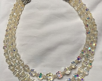 Vintage 3 Row Aurora Borealis Crystal bead necklace 1950 to 1960s adjustable length