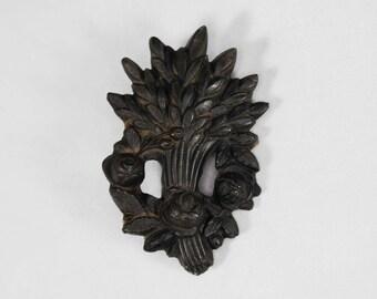 Antique Victorian Brooch; Pressed Horn Wheat Sheaf and Rose Design; Mourning, Christianity, Sentimental, Symbolism