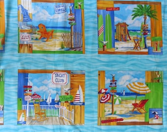 "1 Panel of 100% cotton ""Beach"" 43x23 inch"