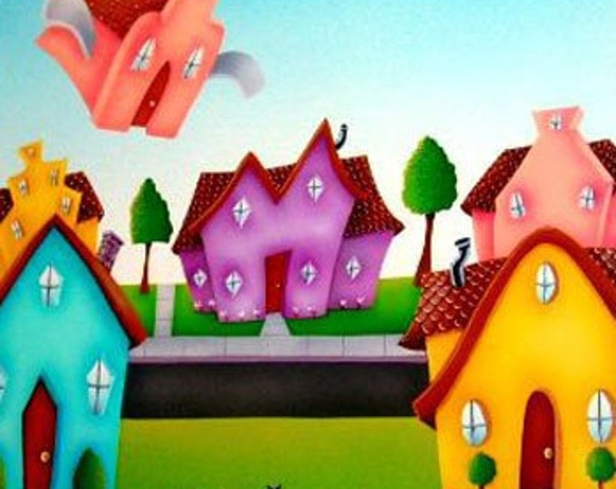 FLYING HOME Framed Art Print | Colorful Neighborhood Painting | Whimsical  Wall Art | Fanciful Flying House Print | Nursery Print | 12x12
