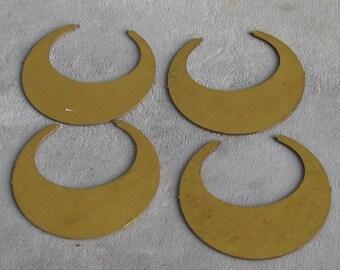 """1 1/2"""" Raw Brass  Open Hoop Shape 10p"""