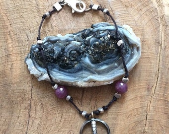 Peace Bracelet / Pave Diamond Bracelet / Ruby Bracelet / Bohemian Bracelet