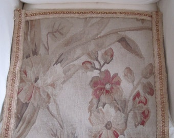 Vintage Aubusson Needlepoint Tapestry Subtle Colorway Old World French Style #1