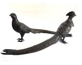 Pair Peafowl PEACOCKS W.B. Mfg.Co The Weidlich Bros Mfg Co - Bridgeport, Ct