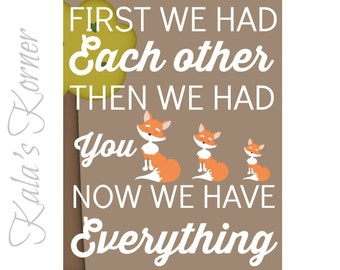WOODLAND NURSERY ART -  Woodland nursery art, Nursery wall art decor, Playroom art, Now we have everything, First we had you print