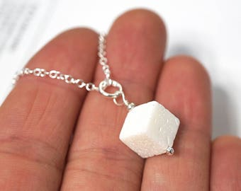 Sugarcube Pendant Sugar Cube Necklace Foodie Gift Real White Coral Charm Necklace Sterling Silver Chain Simple Necklace mens custom necklace