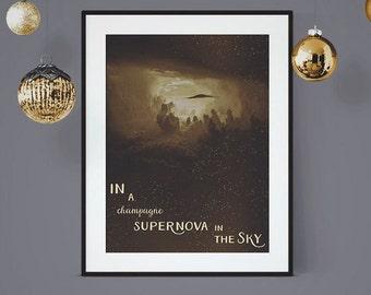 Champagne Supernova, Oasis Lyric Poster, Oasis Art Print, Song Lyric Poster, Lyrical Art, Music Lyric Art, Wall Art, Oasis Music Lyrics