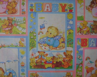 Vintage 1970s Baby Wrapping Paper- 1 Sheet Gift Wrap for a Newborn- Pastel Print BABY