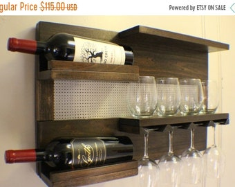 ON SALE Kona and Chrome Wall Mounted Wine Rack with Shelves and Decorative Chrome Bronze Metal Mesh, Wine and Liquor Shelf and Cabinet