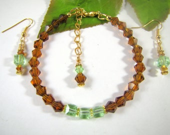 Amber and Apple Green Cube Swarovski Crystal Bracelet and Earrings