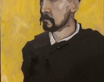 Original Acrylic Painting 18 x 24, Degas, male, figurative, fine art, classic