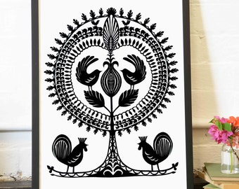 Archival Print Tree of Life series Leluja V, A4 - Tree and birds, Polish Folk art, wycinanki, Traditional Paper Cutting