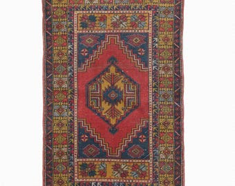 Vintage Turkish Oushak Rug Red Rug FREE SHIPPING! / 3'5''x5'6''ft