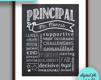 Principal Gift, Principal  Chalkboard Style Printable, Customized Principal Gift, Unique Principal Gift, Personalized Digital File