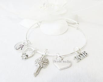 Bride To Be Gifts, Personalized Adjustable Bangle Bracelet, Personalized Bridal Shower Gifts, Initial Bracelet, Gifts For Brides