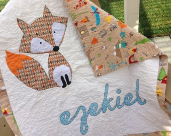 Personalized Fox Baby Personalized Crib Quilt Toddler Quilt w/ Name Applique Personalized Woodland Forrest Quilt Camping Quilt Nature