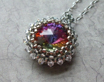 Swarovski RIVOLI Necklace 18mm Beaded Bezel, Volcano