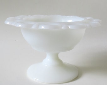 Vintage White Milk Glass Candy Dish with Lace Trim