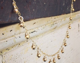 Respect - Gold Drop Necklace on Gold Filled Chain - Delicate and Dripping with Gold
