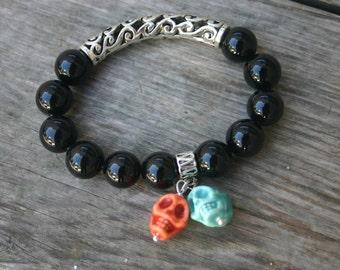 Black Onyx and Ceramic Skull Stretch Bracelet, Skull Bracelet, Halloween Bracelet
