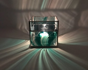 Green and Blue Swirl Stained Glass Square Candle Holder, Bridal Shower, Wedding, New Home, Gifts, Modern Glass Candle Holder, Votive Candle
