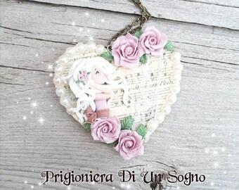 Ooak doll romantic shabby  heart (necklace)