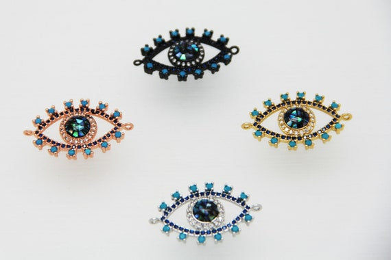 Abalone  Mosaic With CZ Micro Pave 18x28mm Eye Connectors