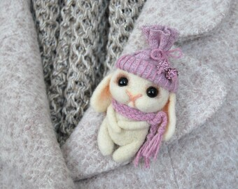 Little bunny brooch/Needle Felting brooch/Children's brooch/Wool felt bunny/Cute birthday's gift/Animal gift/Brooch OOAK/Stuffed Animal Fift