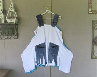 upcycled clothing recycled Tshirt dress Boho jumper Blue White Lagenlook tunic X L 1 X up cycled denim Bohemian reclaimed LillieNoraDryGoods