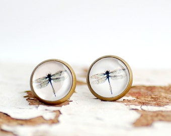 Dragonfly Earrings, Insect Jewelry, Brass Stud Earrings, Black and White, Paper Jewelry, Post Earrings, Graphic Jewelry