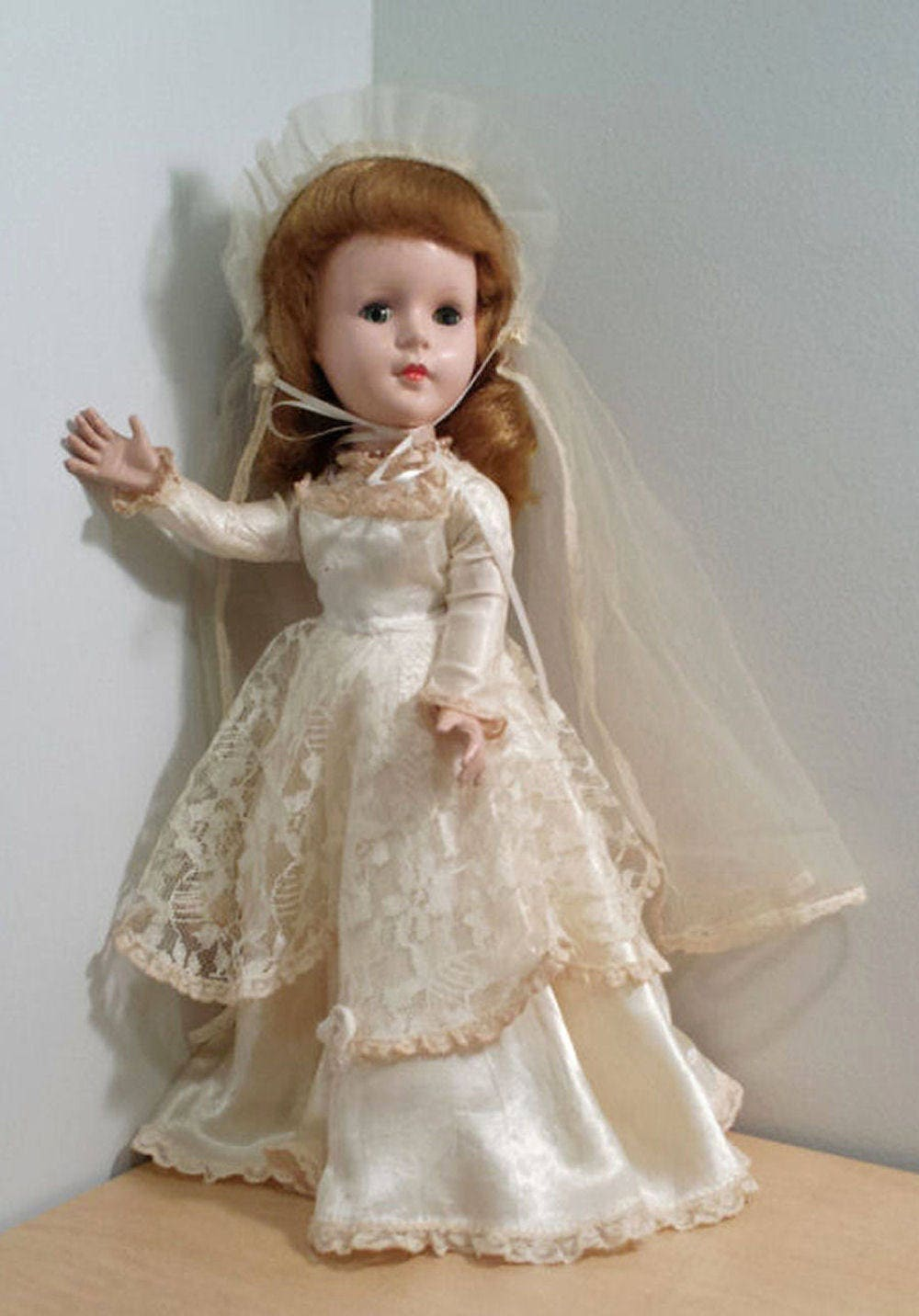American Character Sweet Sue Bride Doll, Head Turning Walker Doll, 1950s 14 inch Wedding Doll