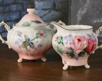 Roses Hand Painted Miniature Sugar Bowl  Creamer set Takiro Japan Shabby Chic Cottage Style