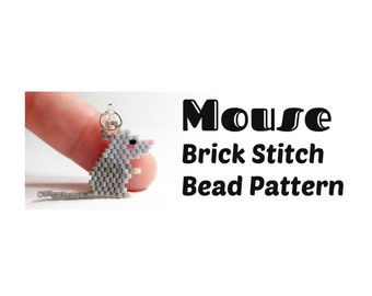 Mouse Brick Stitch PATTERN, Delica Seed Bead Weaving, Cute Animal Charm - Earring - Pendant