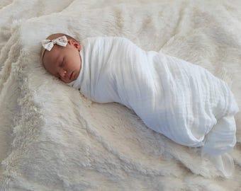 Muslin Swaddle Blanket. Double gauze blanket. White muslin blanket.  X-large blanket