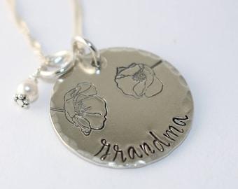 Grandma Necklace - Gift For Grandma - Poppy Flower Necklace - Grandmother Necklace - Custom Silver Necklace - Grandma Gift - Customized Gift
